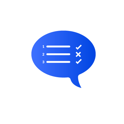 Illustration of a checklist in a speech bubble